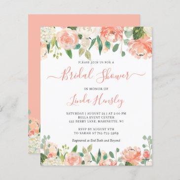 budget chic coral floral bridal shower invitation