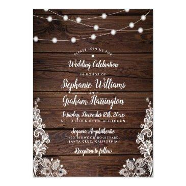 Small Budget Rustic Script String Lights & Lace Wedding Front View