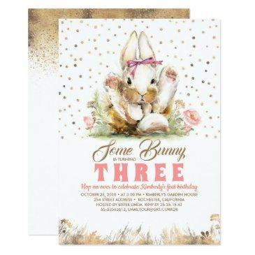 bunny gold glitters pink floral birthday invitation