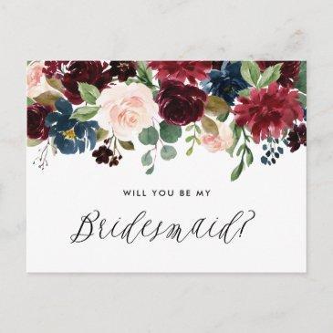 burgundy and blue floral garland be my bridesmaid invitation postinvitations