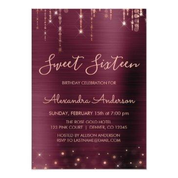 Small Burgundy And Rose Gold Sweet Sixteen Birthday Invitation Front View