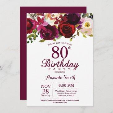 burgundy floral 80th birthday party invitation