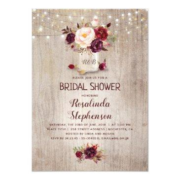 Small Burgundy Floral Mason Jar Rustic Bridal Shower Invitations Front View