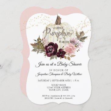 burgundy floral roses gold pumpkin baby shower invitation
