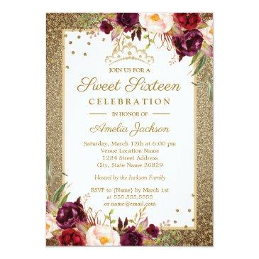 Small Burgundy Gold Floral Sparkle Sweet Sixteen Invitations Front View