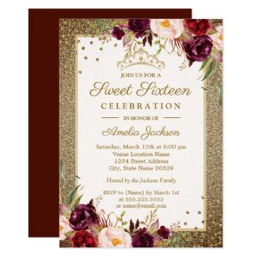 burgundy gold floral sparkle sweet sixteen