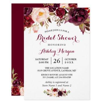 burgundy marsala red floral autumn bridal shower