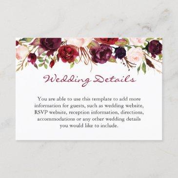 burgundy marsala red floral wedding details info enclosure