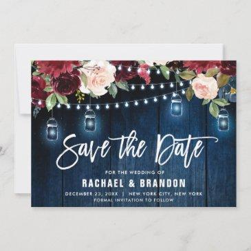 burgundy navy floral string light mason jar save the date