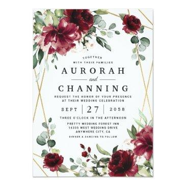 Small Burgundy Red Blush Gold Geometric Greenery Wedding Invitation Front View