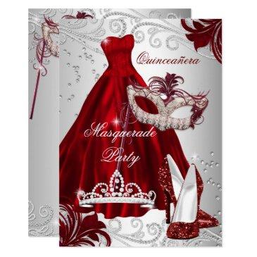 burgundy silver dress masquerade quinceanera mask invitation