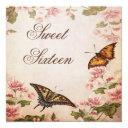 butterflies & vintage almond blossom sweet sixteen invitation