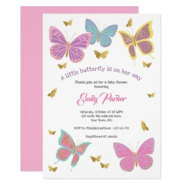 butterfly, girl baby shower themes, invitation
