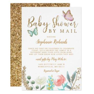 butterfly gold baby shower by mail invitation