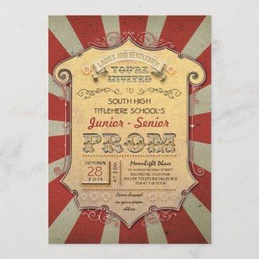 carnival - circus vintage prom invitation