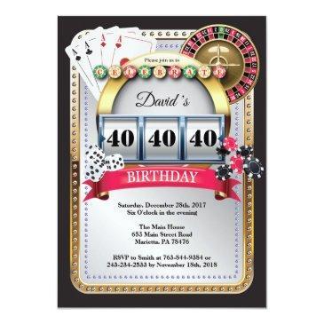 Small Casino Poker Playing Invitations Birthday Invitation Front View