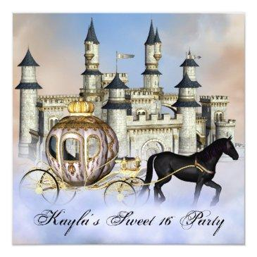 castle clouds princess fairytale sweet 16 party invitations