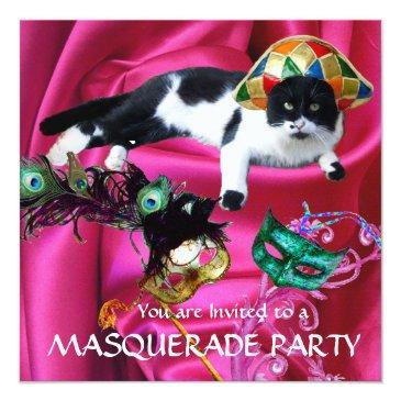 Small Cat With Harlequin Hat And Masquerade Party Masks Invitation Front View