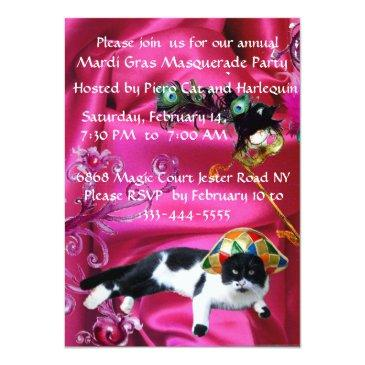 Small Cat With Harlequin Hat And Masquerade Party Masks Invitation Back View