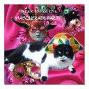 cat with harlequin hat and masquerade party masks invitations