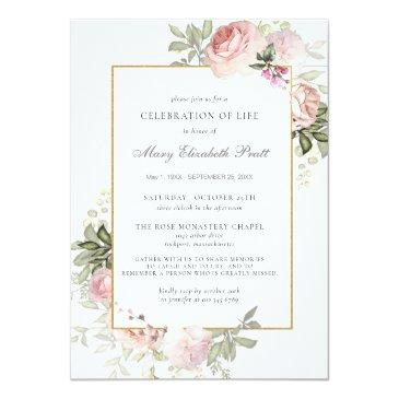 Small Celebration Of Life Funeral Memorial Pink Floral Invitation Front View