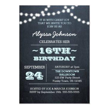 Small Chalk Lights Aqua 16th Birthday Invitation Front View