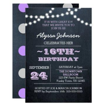 chalk lights lavender 16th birthday sm invitation