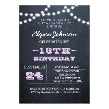 Small Chalk Lights Lavender 16th Birthday Sm Invitation Front View