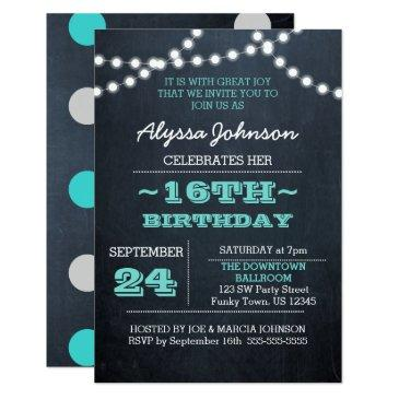 chalk lights teal 16th birthday sm invitation