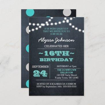 chalk lights teal 16th birthday sm invitation