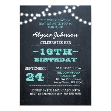 Small Chalk Lights Teal 16th Birthday Sm Invitation Front View