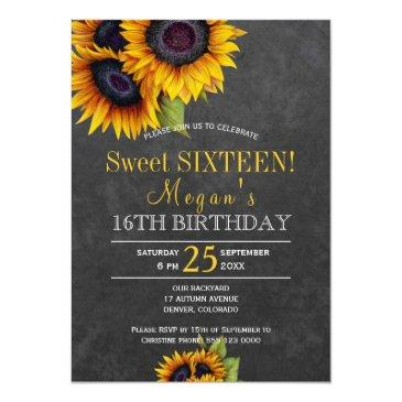 Small Chalkboard Sunflowers Chic Rustic Sweet Sixteen Front View