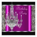 chandelier hot pink leopard birthday party invitation