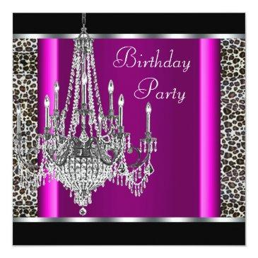 Small Chandelier Hot Pink Leopard Birthday Party Invitations Front View
