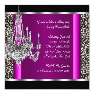 Small Chandelier Hot Pink Leopard Birthday Party Invitations Back View