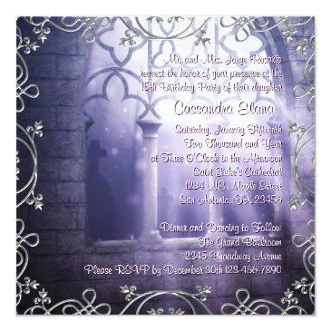 Small Chandelier Lavender Purple Quinceanera Invitations Back View