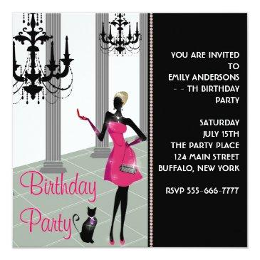 Small Chandelier Party Dress Any Number Girls Birthday Invitations Front View