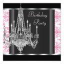 chandelier pink black damask birthday party invitation