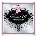 chandelier pink black sweet 16 birthday party invitations
