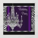 chandelier purple zebra birthday party invitation