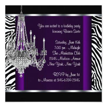Small Chandelier Purple Zebra Birthday Party Invitation Back View