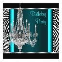 chandelier teal blue zebra birthday party invitations