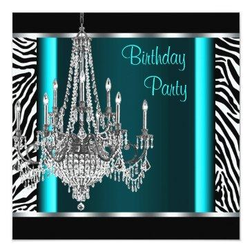 Small Chandelier Teal Blue Zebra Birthday Party Invitations Front View