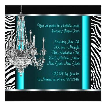 Small Chandelier Teal Blue Zebra Birthday Party Invitations Back View