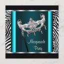 chandelier teal blue zebra masquerade party invitation