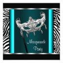 chandelier teal blue zebra masquerade party invitations