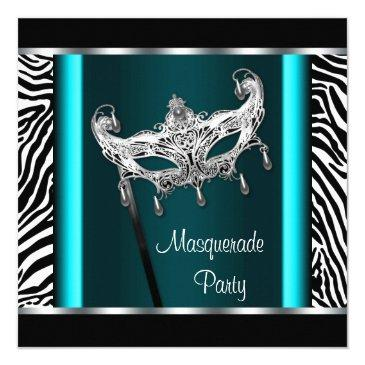 Small Chandelier Teal Blue Zebra Masquerade Party Invitation Front View