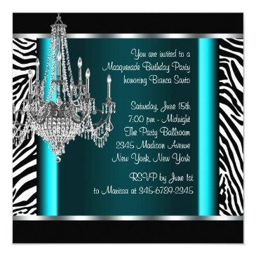 Small Chandelier Teal Blue Zebra Masquerade Party Invitation Back View
