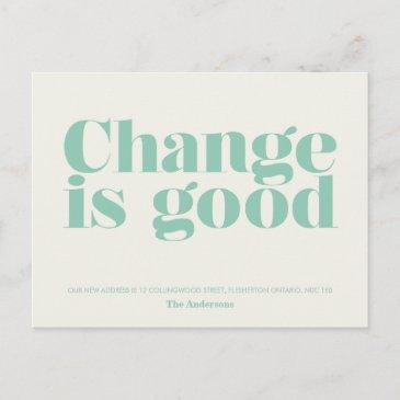 change is good moving announcement // turquoise