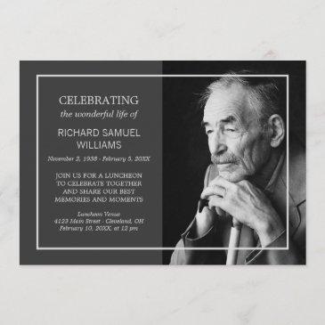 charcoal minimal celebrating life   custom photo invitation